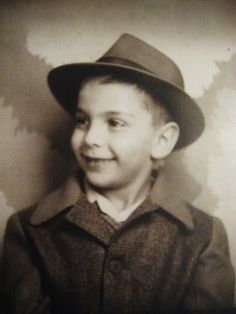 ** Vintage Photo Booth Picture **   Darling boy with grown up hat.  Circa 1940