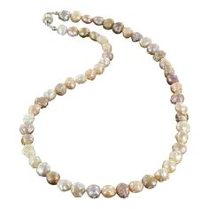 "BEAUTIFUL DRUSY PEARL NECKLACE MULTI COLOR STERLING 16.5"" from New World Gems"