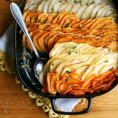 Slow roasting turns root vegetables and onions to buttery soft and naturally sweet gratin. Hearty yet healthy Holiday side dish. Vegan, gf