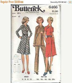 ON SALE Butterick 6466 Misses Half Size ShirtDress, Top and Pants Pattern, Size 18 1/2 UNCUT