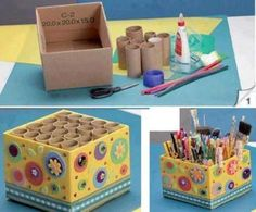 Tip: Reciclaje rollos de papel higienico .change the outside to be more rustic, but a great idea for dividers Diy And Crafts, Crafts For Kids, Arts And Crafts, Toilet Paper Roll Crafts, Paper Crafts, Diy Paper, Diy Projects To Try, Craft Projects, Craft Ideas