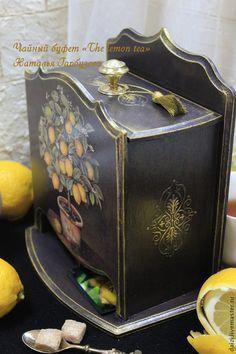 """Буфет чайный """"The lemon tea"""" - черный,буфет,чайный домик,чайный домик декупаж"""