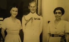 The Duke of Edinburgh, commander of the British Naval frigate Magpie, with Princess Olga of Yugoslavia (left), his cousin, and Princess Helen of Greece, his aunt, during his visit to Athens, 20 Sept, 1950