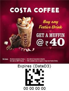 Costa Coffee - India Costa Coffee, Oatmeal, Muffin, Coupon, India, Drinks, Breakfast, Food, The Oatmeal