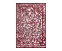 Tapis vintage fabrication main ICONE laine, rouge - 193*298