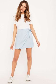 BDG Cassidy Chambray Wrap Skirt