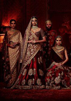 """Sabyasachi's Firdaus Collection Firdaus. Love the sari on the left Indian Bridal Fashion, Indian Bridal Wear, Indian Wedding Outfits, Bridal Outfits, Indian Wear, Indian Outfits, Bridal Dresses, Wedding Sari, Wedding Updo"