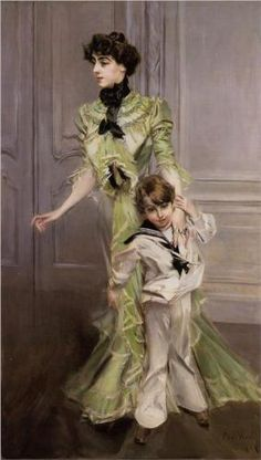Madame Georges Hugo and her son Jean  - Giovanni Boldini