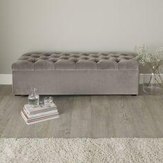 Richmond Ottoman Silver Grey Velvet   Ottomans   Furniture   Home   The White Company UK