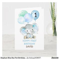 Elephant Blue Boy Fist Birthday Cute 1st Birthday Card 1st Birthday Boy Gifts, Happy First Birthday, Birthday Cards For Boys, Happy 1st Birthdays, Handmade Birthday Cards, Happy Birthday Cards, Rainbow Card, Elephant Birthday, Custom Greeting Cards