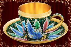 Trevi Jewelry 24K gold plated sterling silver cup and saucer. Decorated in Feberge style