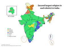 Second largest religion in each district in India