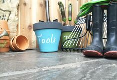Wondering how to store all your garden tools? Paint a terra cotta pot, mix play sand and 3-in-1 multipurpose oil, then pour into the pot, and voila. It's an easy way to store and keep your garden tools rust free. Find out more on the Home Depot Garden Club.