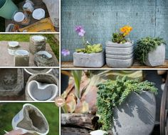 DIY Concrete Planters   http://theownerbuildernetwork.co/easy-diy-projects/diy-concrete-planter/