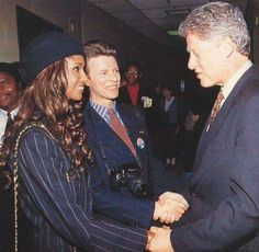 Iman, David and Bill Clinton