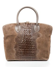 Look what I found on #zulily! Fango Croc Embossed Leather Satchel #zulilyfinds