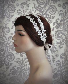 Bridal Lace bandeau Double bandeau blanc par Januaryroseboutique