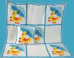 Little yellow duckies seem to always be where children are, making this fun rubber toy the perfect picture for an afghan and pillow. The timeless classic Little Ducky Duddle Afghan and Pillow is sure to be a family favorite for years to come. Rubber ducks designs are good for either a boy or a girl. They both take baths and enjoy playing with rubber ducks in the water. The yellow duck with umbrella is made