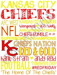9 x 12 SubwayArt Kansas City Chiefs. NFL. 'Rustic' Looking Canvas by CreationsbyCLM,