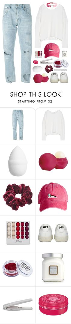 """midterms :/"" by amazing-abby ❤ liked on Polyvore featuring Citizens of Humanity, Helmut Lang, H&M, Eos, Wild Pair, Harding-Lane, Off-White, Obsessive Compulsive Cosmetics, Laura Mercier and L'Occitane"