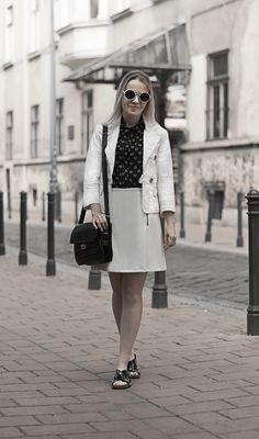 minimal black white inverted classic outfit monochrome outfit biker skirt summer shirt leather slides smart look