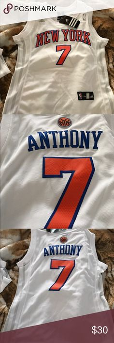 New York knicks jersey NEVER used!! Brand new !! Was unable to return at the store. 2 children Carmelo Anthony jerseys. SIZE LARGE AND XL !! Adidas Shirts & Tops Tank Tops