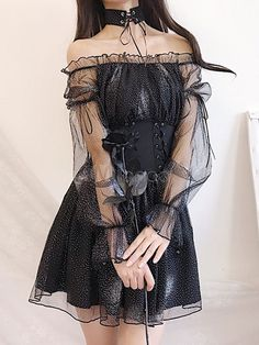 Sweet Lolita OP Dress Milky Way Romance Black Ruffles Lace Up Lolita One Piece Dresses Edgy Outfits, Grunge Outfits, Pretty Outfits, Pretty Dresses, Beautiful Dresses, Girl Outfits, Egirl Fashion, Korean Girl Fashion, Kawaii Fashion