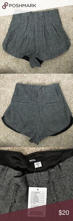 Urban Outfitters BDG high waisted wool shorts Adorable high waisted shorts with belt loops so you can dress it up!  Versatile color.  Never worn.  Wool blend material makes it conducive for summer, fall, and winter. BDG Shorts