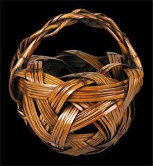 Japanese bamboo flower arranging basket by Kyokusho Saku, circa 1920 – 1930