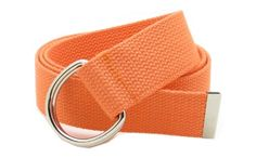 """Canvas Web Belt Double D-Ring Buckle 1.5"""" Wide with Metal Tip Solid Color (Orange) - http://www.our-shopping-store.com/apparel-and-accessories.asp"""