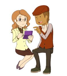 Professor Layton showing Claire how to play the DS or 3DS. Claire's face here is priceless, LOL!