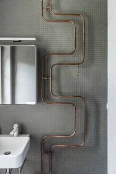 hot water pipes from the radiator for towel warmers