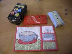 mug rug with pockets for tea bag and spoon prefect for the tea lover (me, mom, cousin, sisters, friends)