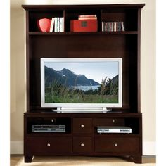 Casual style with functional design is showcased in this Hailey Entertainment Collection. Top shelf and bottom drawers offer plenty of storage space for gaming console, movie collections, and other accessories. It is crafted of select hardwoods and veneers in espresso finish.