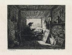 Charles François Daubigny, Barbizon, La Bateau Atelier, etching