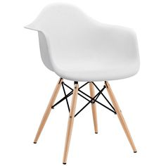 """Wood Pyramid Armchairs are crafted out of molded plastic for the seat and a solid wood """"pyramid"""" base. Comfortable and versatile, this chair can be used to decorate any space. Set Includes: One - Wood Pyramid Armchair Overall Product Dimensions: 24.5""""L x 24""""W x 31""""H Seat Height: 17.5""""H Armrest Height: 26""""H"""