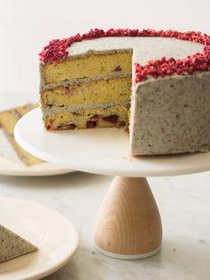 COCONUT-CHERRY CAKE WITH BLACK SESAME BUTTERCREAM