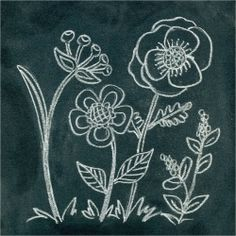 Anthropoogie Inspired Chalk Art -- Great tutorial shows how to create Anthro-inspired flower chalk art with instructions to transfer design to chalkboard. | Looksi Square