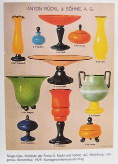 "Ruckl pricelist/ catalogue page from ""Das Böhmische Glas vol VI Art Deco Period, Art Deco Era, Deco Design, Glass Design, Tango, Glass Shoes, Cast Glass, Bohemian Art, Glass Company"