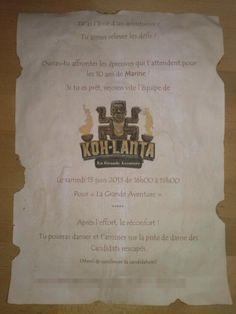 "Anniversaire ""Koh-Lanta"" : Invitation Survivor Theme, Ko Lanta, Invitations, Birthday, Party, Animation, Hearts, Birthdays, Parties"