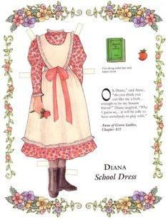 Anne of Green Gables paper doll clothes* 1500 free paper dolls at Arielle Gabriel's The International Paper Doll Society and also free China and Japan paper dolls at The China Adventures of Arielle Gabriel * Anne Shirley, Paper Art, Paper Crafts, Anne Of Green Gables, Anne Green, Paper Dolls Printable, Bobe, School Dresses, Vintage Paper Dolls