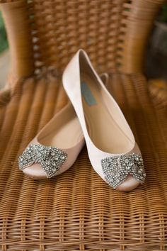 Nude satin flats with jeweled bows {Samantha Jay Photography}
