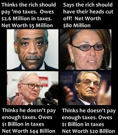 Al Sharpton, Roseanne Barr, Warren Buffet, George Soros and we just keep letting the people rule American Lives! Liberal Hypocrisy, Liberal Logic, Stupid Liberals, Thats The Way, That Way, Roseanne Barr, George Soros, Conservative Politics