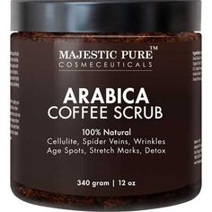 Majestic Pure Arabica Coffee Scrub 12 Oz Natural Body Scrub for Skin Care Stretch Marks Acne Anti Cellulite Treatment Helps Reduce Spider Veins Eczema Age Spots Varicose Veins *** Wow! Check it out now! : All Natural Skin Care Natural Body Scrub, Diy Body Scrub, Face Scrub Homemade, Natural Skin Care, Coffee Cellulite Scrub, Coffee Face Scrub, Anti Cellulite, Reduce Cellulite, Cellulite Cream