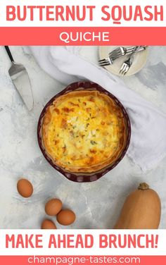 This vegetarian butternut squash quiche is filled with caramelized onions and goat cheese, is easy to make ahead of time, and is perfect for brunch! Healthy Muffin Recipes, Delicious Breakfast Recipes, Vegetarian Recipes Easy, Vegetarian Quiche, Brunch Recipes, Healthy Food, Roasted Butternut, Butternut Squash, Make Ahead Brunch