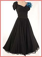 40s/50s Sweetheart Bodice Black Chiffon Full Skirt Party Dress