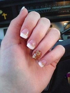 #Fall #nail design. Pink and whites with custom burnt rusty acrylic with gold zebra nail design.