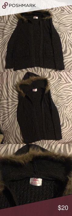 Justice girls Cardigan Justice girls cardigan. Think cable knit with fur trimmed hood. Worn twice, excellent condition. Justice Shirts & Tops Sweaters