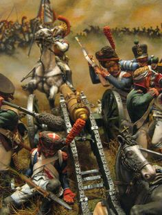 Dioramas and Vignettes: To the Heroes of 1812, photo #21.  French Carabiniers charging Russian guns at Borodino.  120mm miniatures