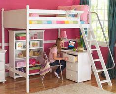 chambre de fille, lit mezzanine avec bureau